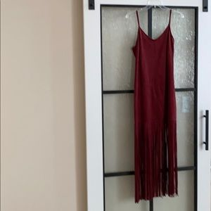 Suede maxi dress with fringed bottom